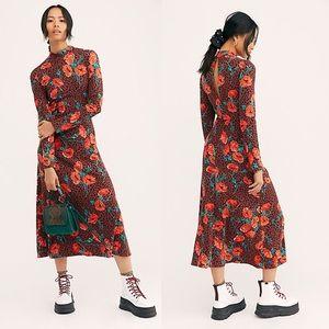 Free People Retro Romance Midi Dress Floral